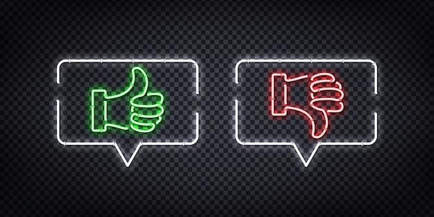 Enseigne Au Néon Réaliste Du Logo De Bulle De Discours De Haut En Bas Pour La Décoration Et La Couverture Sur Le Fond Transparent. Concept De Notation, De Réseau Et De Médias Sociaux. Vecteur Premium