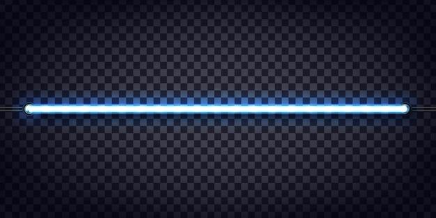 Enseigne Au Néon Réaliste De Tube Bleu Pour La Décoration Et La Couverture Sur Le Fond Transparent. Vecteur Premium