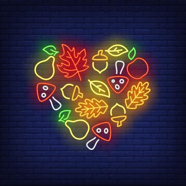 Enseigne au néon récolte d'automne Vecteur gratuit