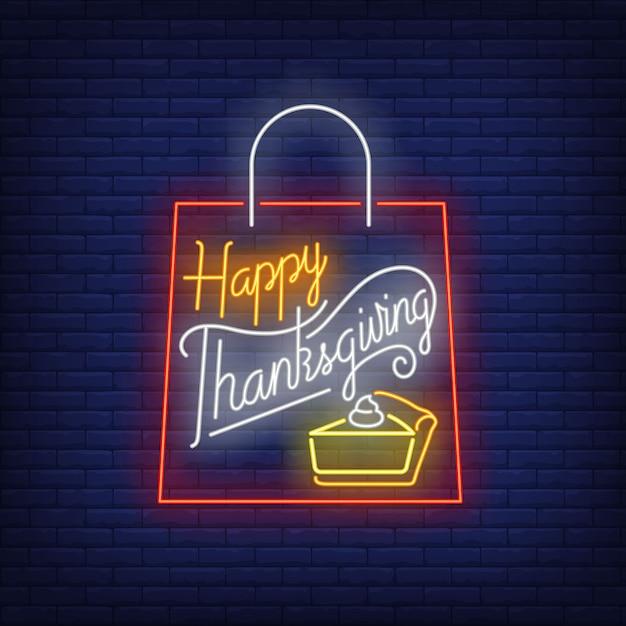 Enseigne Au Néon Sac De Thanksgiving Heureux Vecteur gratuit