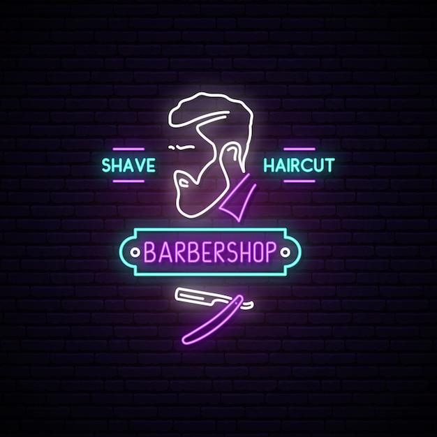 Enseigne au néon de salon de coiffure. Vecteur Premium