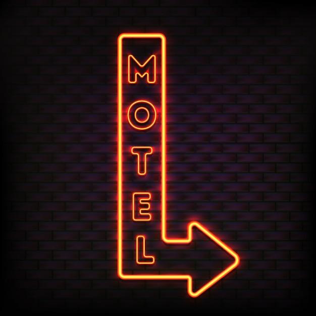 Enseigne au néon sertie de bouton lumineux clignotant motel flèche conseil et lettres électriques orange clair vector illustration Vecteur Premium