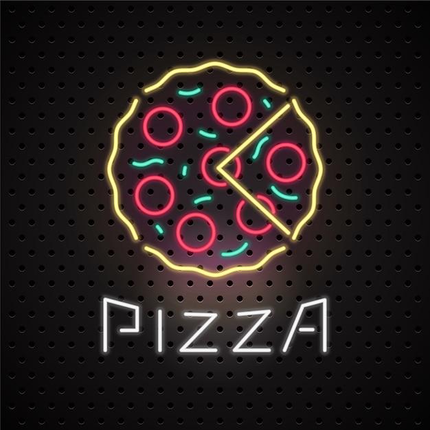 Enseigne Au Néon De Service De Livraison De Pizza Vecteur Premium
