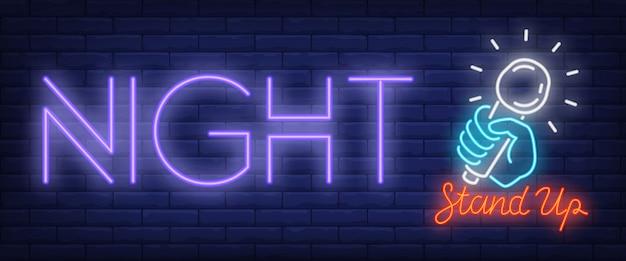 Enseigne au néon standup night Vecteur gratuit