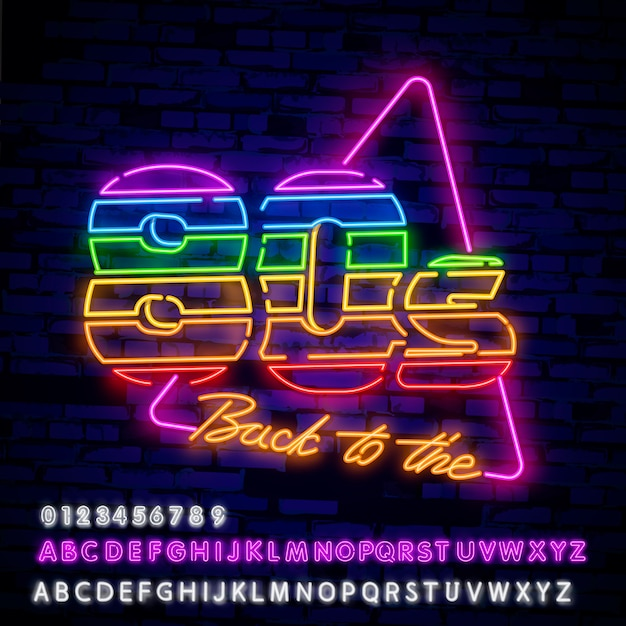 Enseigne au néon de style rétro des années 80 Vecteur Premium