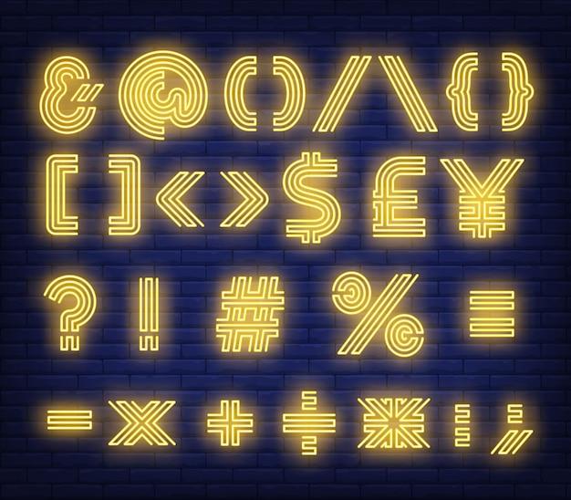 Enseigne au néon de symboles texte jaune Vecteur gratuit