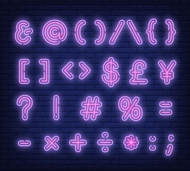 Enseigne au néon de symboles texte rose Vecteur gratuit