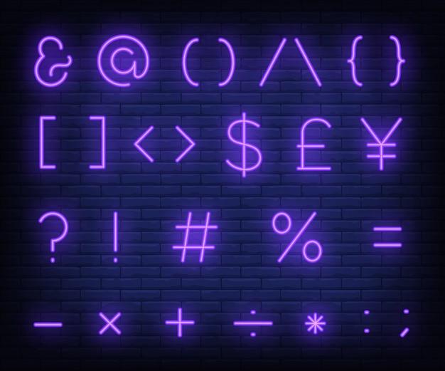 Enseigne au néon de symboles texte violet Vecteur gratuit