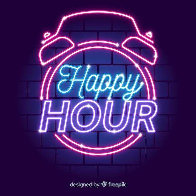 Enseigne au néon vintage happy hour Vecteur gratuit
