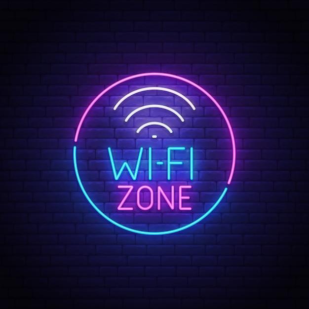 Enseigne Au Néon Wi-fi Vecteur Premium