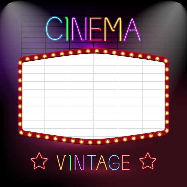 Enseigne de cinéma au néon Vecteur gratuit