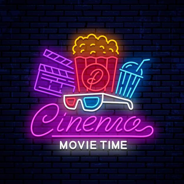 Enseigne Lumineuse Néon Cinéma Vecteur Premium