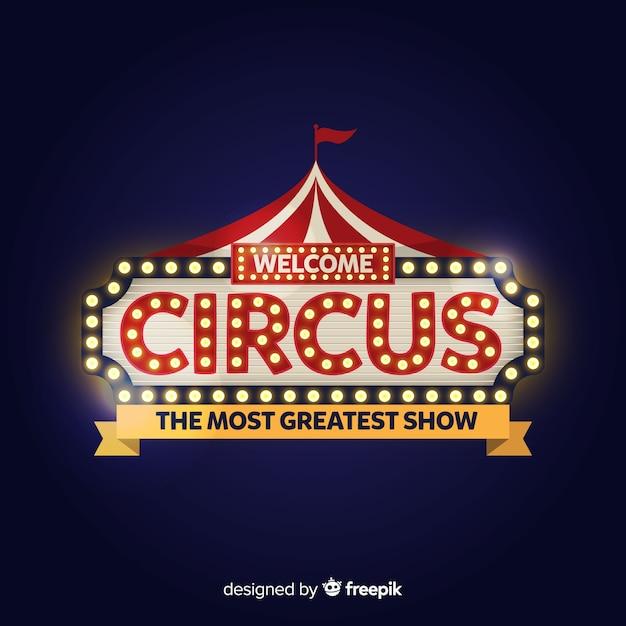 Enseigne lumineuse vintage circus Vecteur gratuit