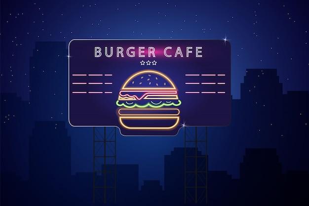 Enseigne néon burger Vecteur Premium