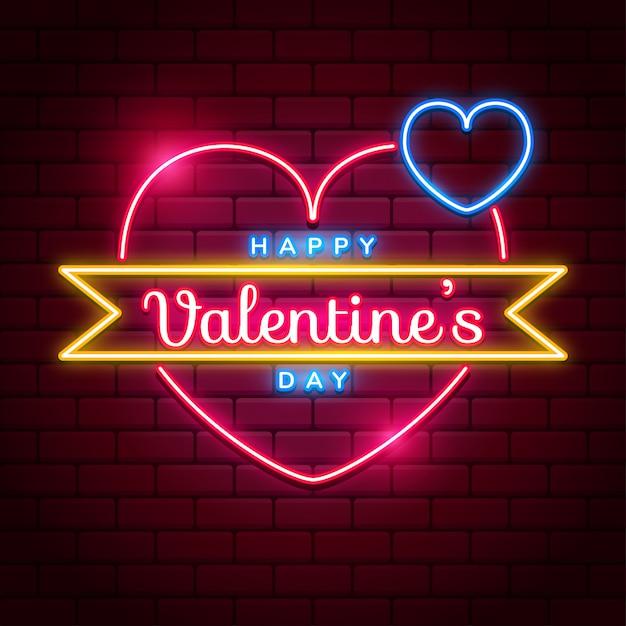 Enseigne Néon Happy Valentine's Day Avec Coeur Néon Vecteur Rose Et Bleu Vif Sur Les Murs De Briques Rouges Vecteur Premium