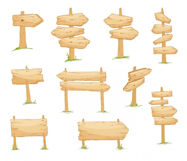 Enseigne panneaux en bois vierges de différentes formes et tailles. style de bande dessinée Vecteur Premium