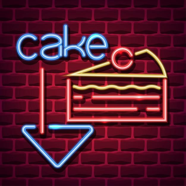 Enseigne publicitaire néon gâteau Vecteur Premium