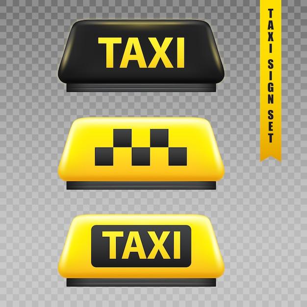 Enseigne taxi set transparent Vecteur gratuit
