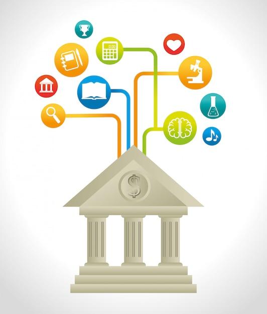 Enseignement académique et apprentissage en ligne Vecteur Premium