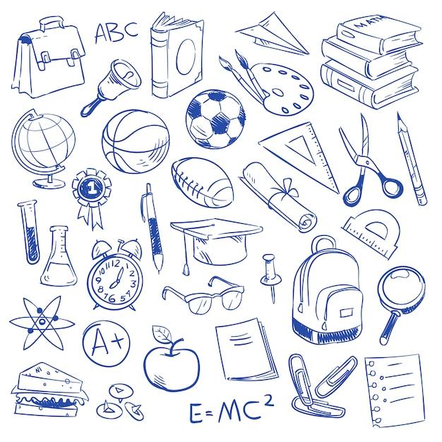 Enseignement scolaire et science Vecteur Premium
