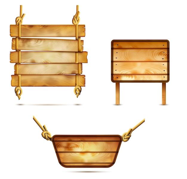 Enseignes en bois Vecteur Premium