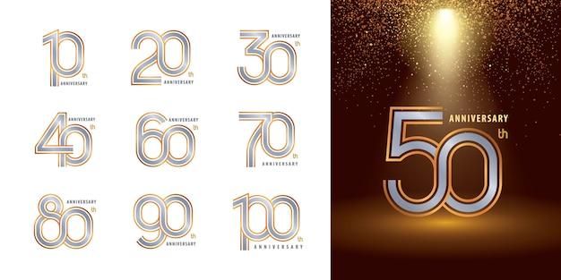 Ensemble De 10 à 100 Ans De Conception De Logotype D'anniversaire, Les Années Célèbrent Le Logo D'anniversaire Vecteur Premium