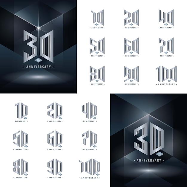 Ensemble De 10 à 100 Motifs De Logo Anniversaire Argent Vecteur Premium