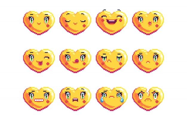 Ensemble De 12 Emoji Pixel Art Communs En Forme De Coeur De Couleur Dorée Vecteur Premium
