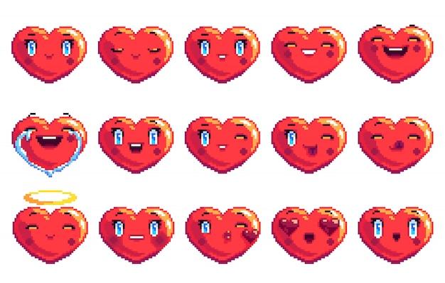Ensemble De 15 émotions Positives En Forme De Coeur Emoji Pixel Art De Couleur Rouge Vecteur Premium