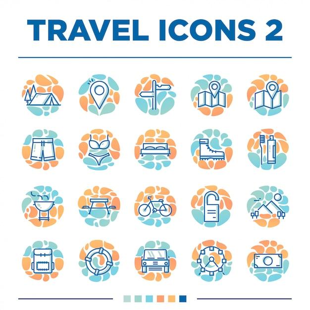 Ensemble de 20 autres icônes de voyage avec un style unique Vecteur Premium