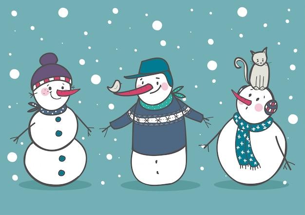 Ensemble de 3 bonhommes de neige mignons Vecteur Premium