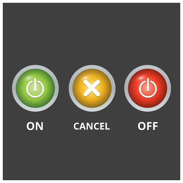 Ensemble de 3 boutons colorés sur fond clair gris foncé Vecteur gratuit
