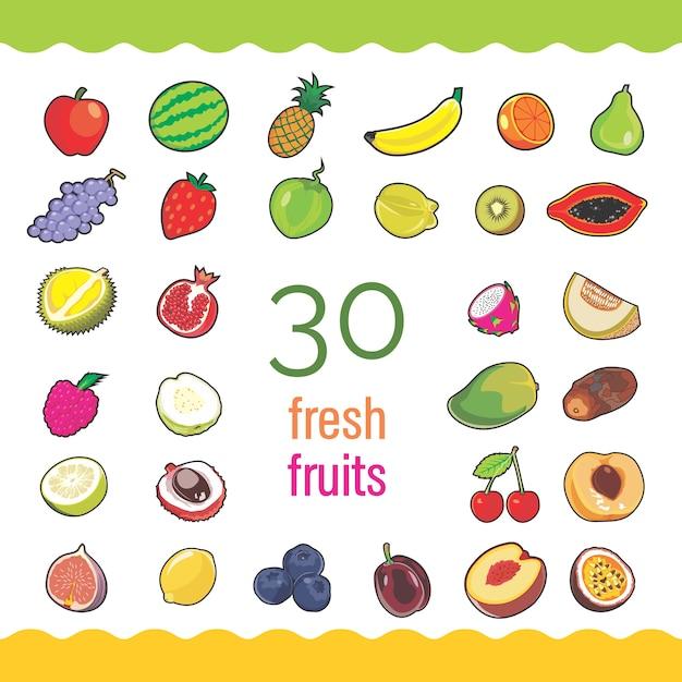 Ensemble de 30 fruits frais Vecteur Premium