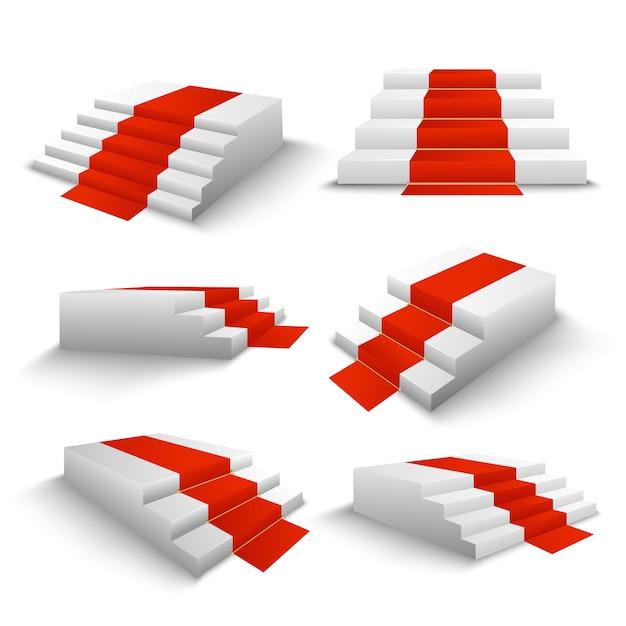 Ensemble 3d Des Escaliers Du Tapis Rouge Vecteur gratuit