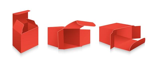 Ensemble 3d De Modèle De Boîte Rouge. Collection De Boîtes-cadeaux D'emballage Réaliste Vierge. Carton Carton Ouvert Paquet De Papier. Vecteur Premium