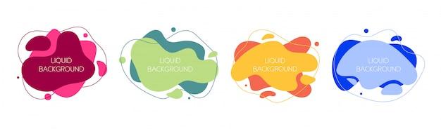 Ensemble De 4 éléments Liquides Graphiques Modernes Abstraites. Vecteur Premium