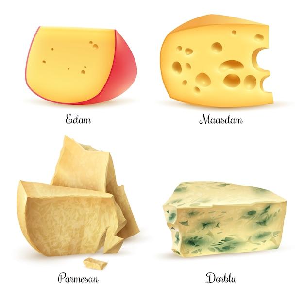 Ensemble de 4 images réalistes de fromages de qualité Vecteur gratuit