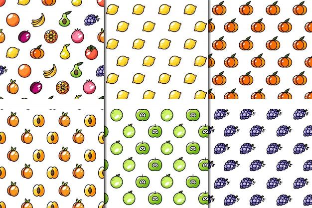 Ensemble De 6 Modèles De Fruits Juteux Sans Soudure Vecteur Premium