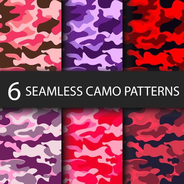 Ensemble de 6 pack de motifs de camouflage sans soudure fond avec ombre noire Vecteur Premium