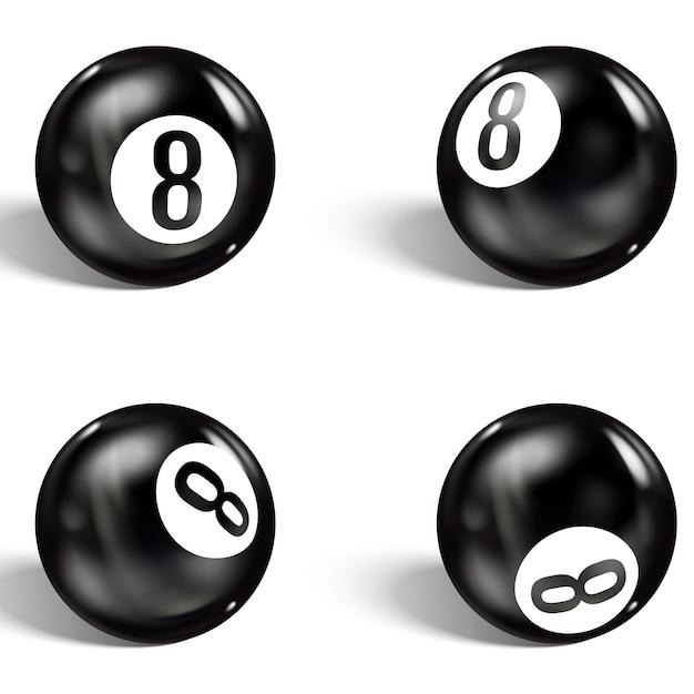 Ensemble De 8 Balles Réalistes. Isolé Sur Un Blanc Vecteur Premium