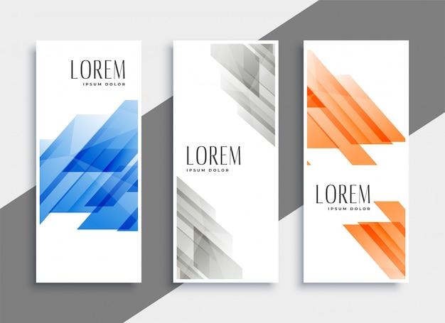 Ensemble abstrait de bannières géométriques Vecteur gratuit
