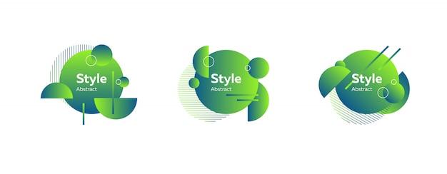 Ensemble d'abstrait moderne vert et bleu Vecteur gratuit