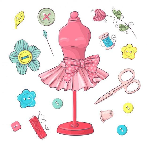 Ensemble d'accessoires de couture de mannequin. dessin à main levée Vecteur Premium