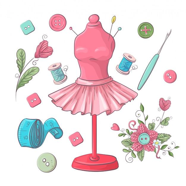 Ensemble d'accessoires de couture de mannequin. dessin à main levée. Vecteur Premium