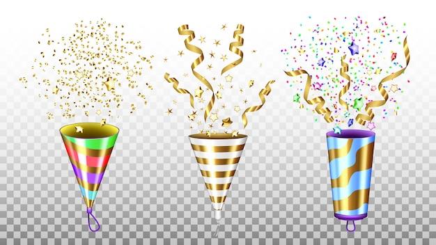 Ensemble D'accessoires Explosifs Party Popper Vecteur Premium