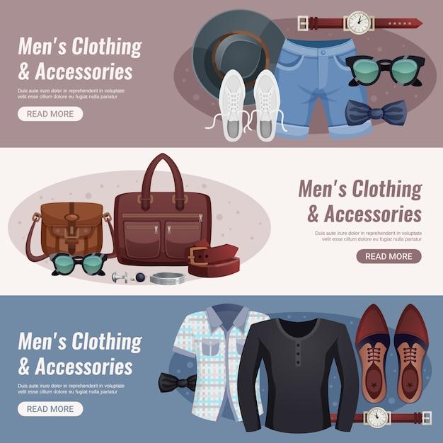 Ensemble d'accessoires horizontaux pour hommes Vecteur gratuit