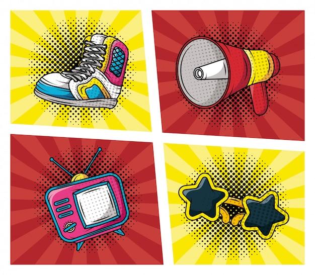Ensemble D'accessoires De Style Pop Art Vecteur gratuit