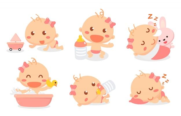 Ensemble D'activités Bébé Fille. Bébé Agissant. Développement De Bébé Et Jalons. Vecteur Premium