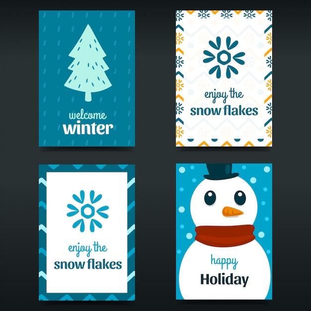 Ensemble d'affiche carte abstrait hiver bleu dessiné à la main Vecteur Premium