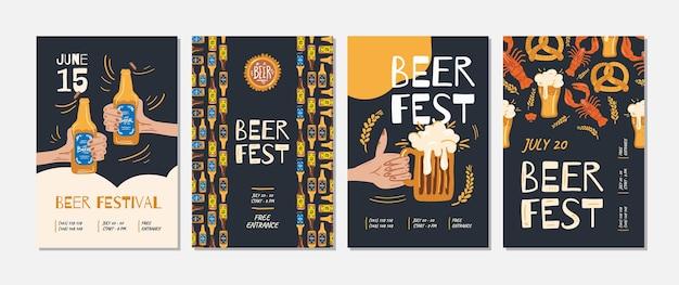 Ensemble D'affiche D'événement De Fête De La Bière Vecteur Premium
